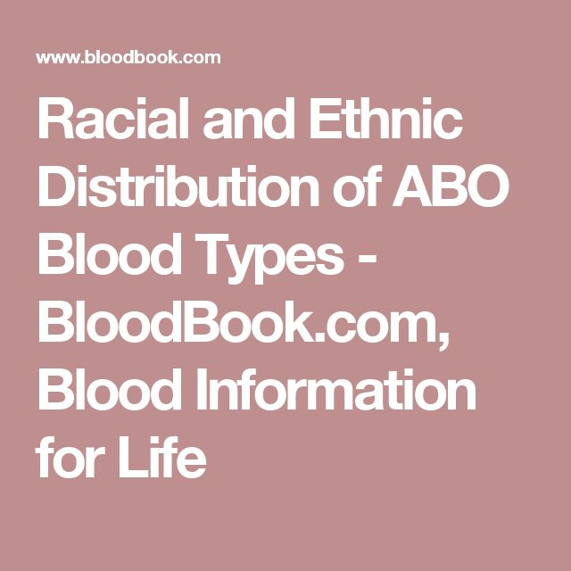 Racial and Ethnic Distribution of ABO Blood Types - BloodBook.com, Blood  Information for Life