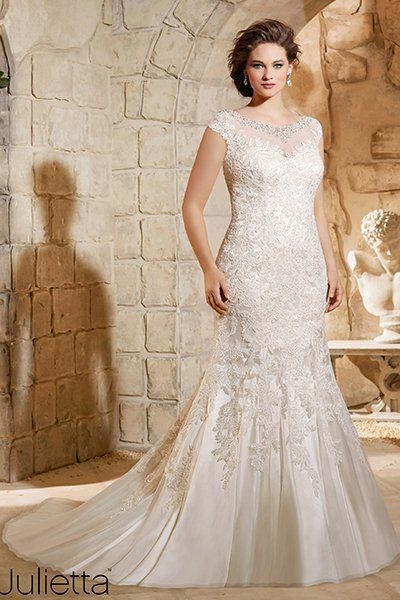"""This vintage-inspired Mori Lee gown is a beautiful choice for a pear-shaped bride. The high neck and cap sleeves will balance out fuller hips."""