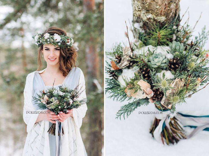 Свадебное фото букет невесты, оформление и украшение свадьбы цветам в стиле эко — цвет светло-зеленый, зеленый, голубой, сезон: зима, фото №18298, Poller – декор свадьбы