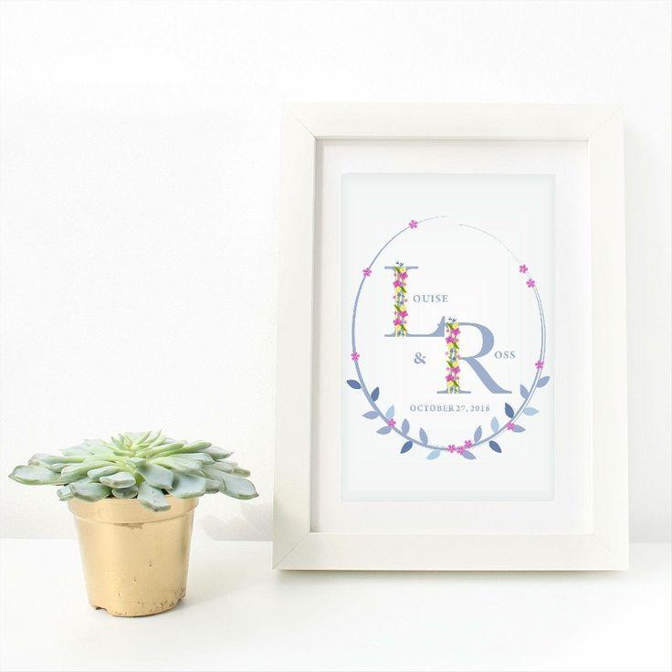 Quiero compartir lo último que he añadido a mi tienda de #etsy: Lámina con Inicial con Flores para Regalo de Mujer, para Hija, para Madre, para Hermana, para Cuñada, en Navidades, Regalo de Boda, Novios #arte #copiaimpresa #digital #azul #navidad #rosa #boda #laminaconinicial #conflores http://etsy.me/2Aw3phq