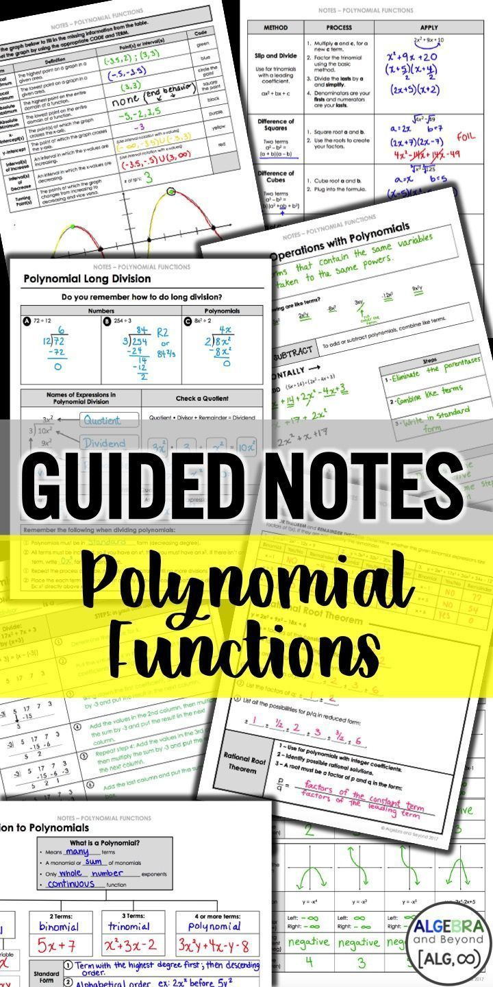 Guides Notes Practice Homework And Activities For Polynomial Functions Help Your Students Understand Alge Polynomials Polynomial Functions Teaching Algebra