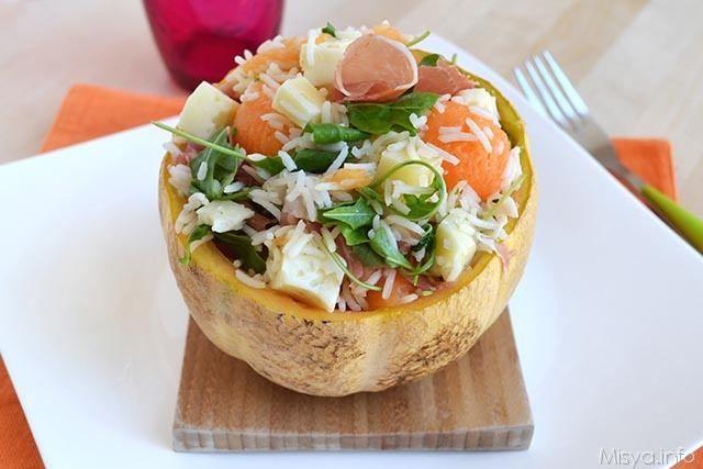 Insalata di riso prosciutto e melone