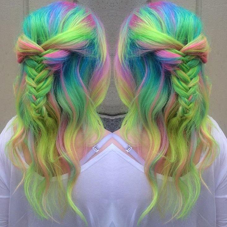 Neon unicorn hair | Hair Painting | Color melt | Pravana Neons | Hair by @erinm_hair | juju hair lounge Vancouver, BC, Canada @jujuhairlounge