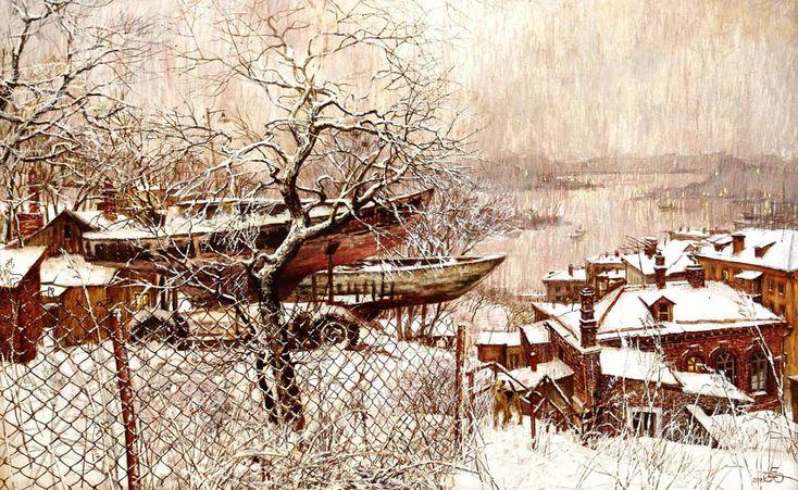 Евгений и Оксана Осиповы. Лодки над городом, холст,масло. Городской пейзаж. Владивосток. Дневников