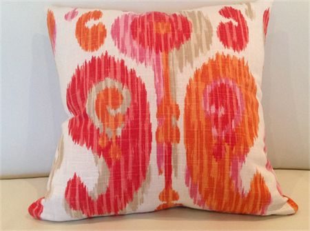 Boho Ikat Linen Cushion Cover. Peach, Ivory, Red, Pink, 45x45cm Bohemian Style!