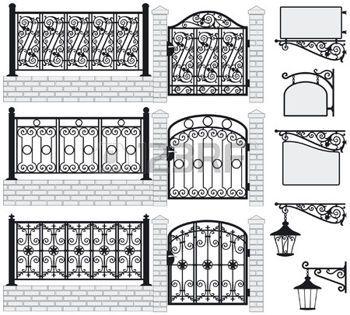gietijzer+smeedwerk%3A+Set+van+smeedijzeren+hekken%2C+poorten%2C+borden+en+lantaarns+met+decoratieve+ornamenten+Vector+illustratie