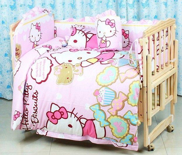 Promotion! 7pcs Hello Kitty Baby Bedding Set Bed Linen Cot Bed Bumper Set Baby Bedclothes (bumper+duvet+matress+pillow)