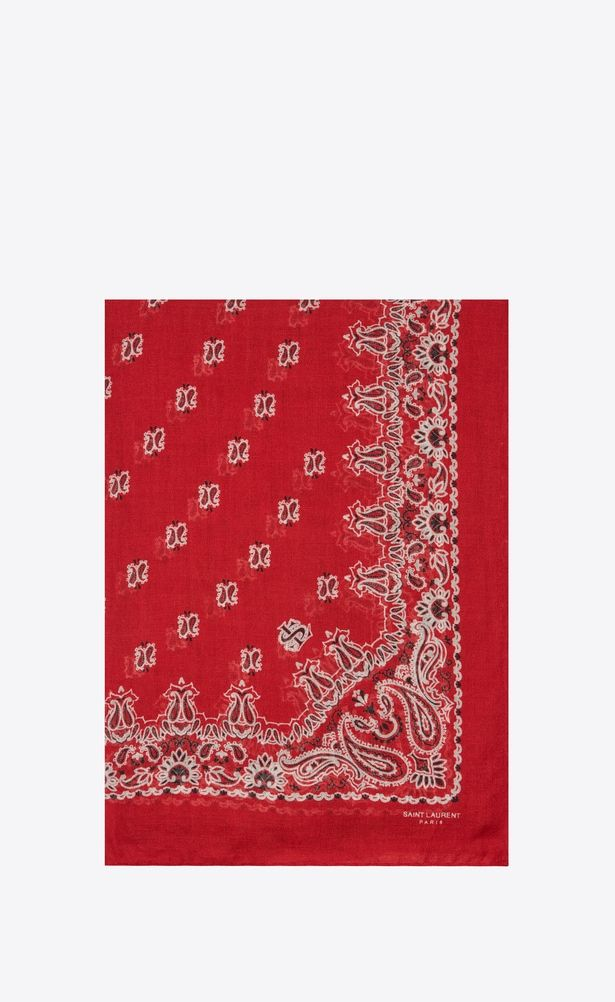 bf8d833e12 SAINT LAURENT Rectangles Femme Étole bandana en étamine de cachemire et de  soie à imprimé cachemire noir et blanc V4