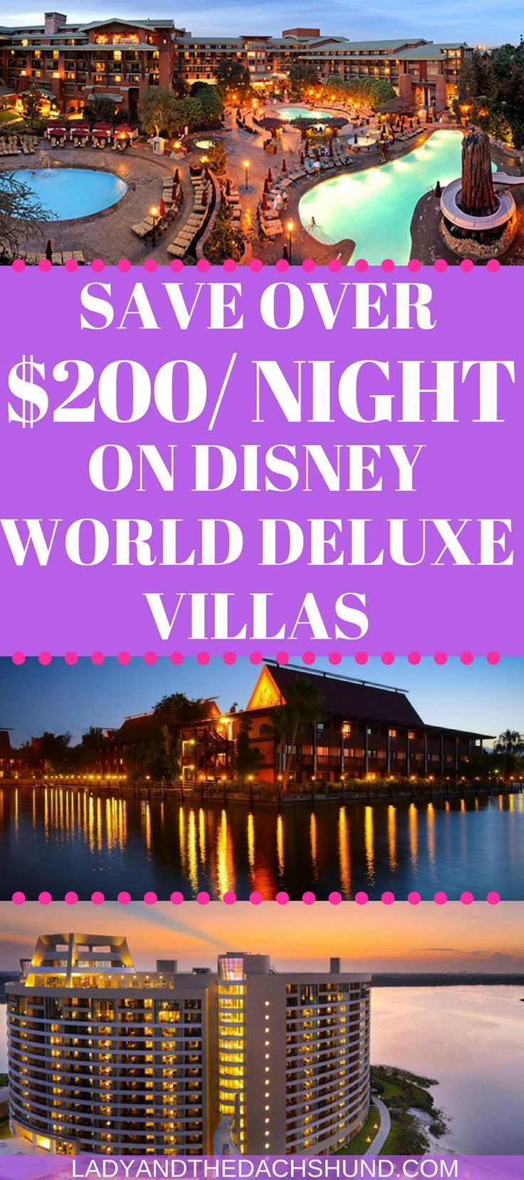 How I Saved Over $200 Per Night On a Walt Disney World Deluxe Resort Villa. Save on Disney World Hotels, Disney Hotel Deals, Disney Hotel Savings.