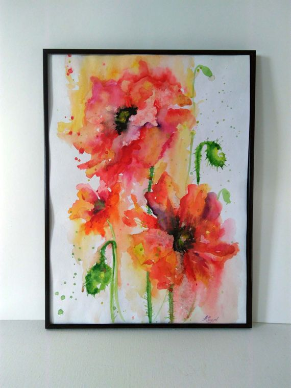Digital art print Watercolor flowers Poppies by PaintingByAHeart