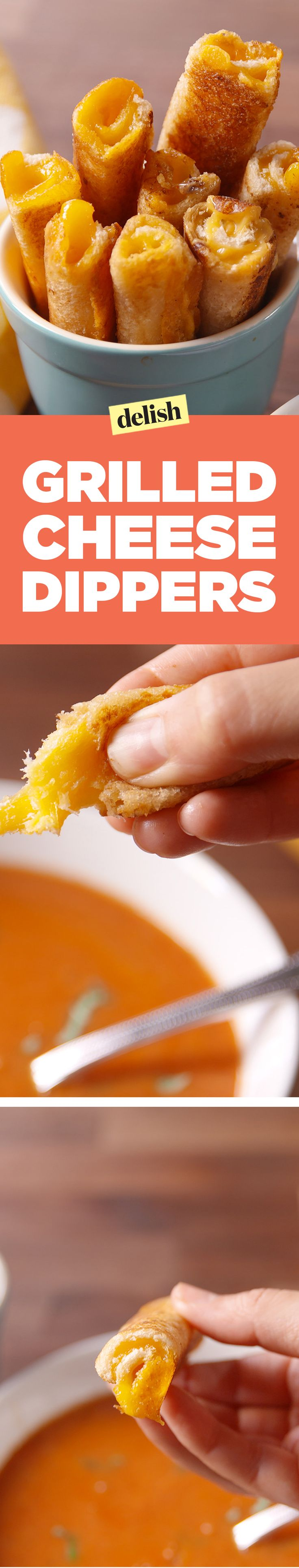 Grilled cheese dippers make eating tomato soup so much more fun! Get the recipe on Delish.com.