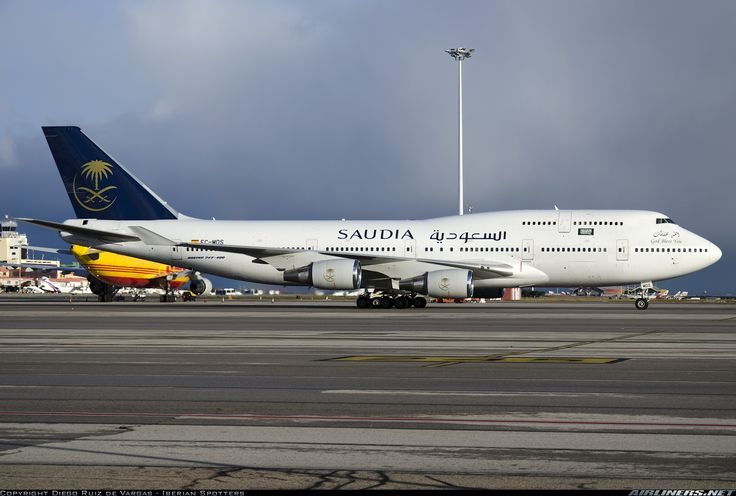 Saudia (Wamos Air) Boeing 747-419 (registered EC-MDS) taxiing at Madrid-Barajas, 31/01/2015