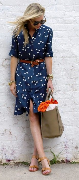 Cute weekend outfit - navy and white flier dress with cognac heels and belt