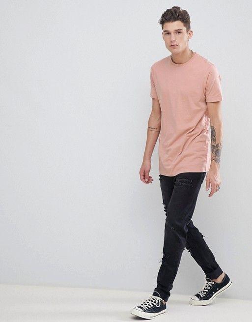 977482e41d85 ASOS   ASOS DESIGN Tall – Langes T-Shirt in Beige mit Rundhalsausschnitt