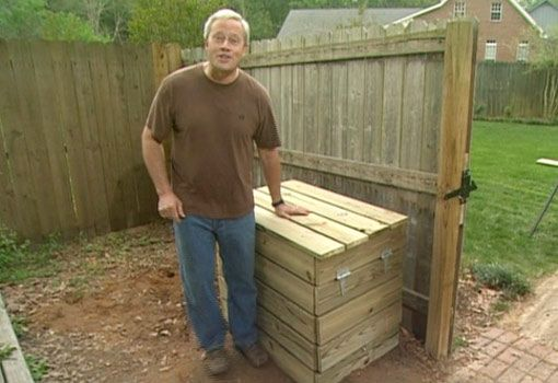 Compost Bin DIY with hinged lid & side door (use naturally rot resistant wood instead of suggested chemically treated)