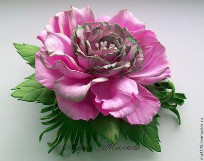 """Заколки ручной работы. Ярмарка Мастеров - ручная работа Цветы из фоамирана.""""Пионовидная роза"""" Заколка-зажим.. Handmade."""