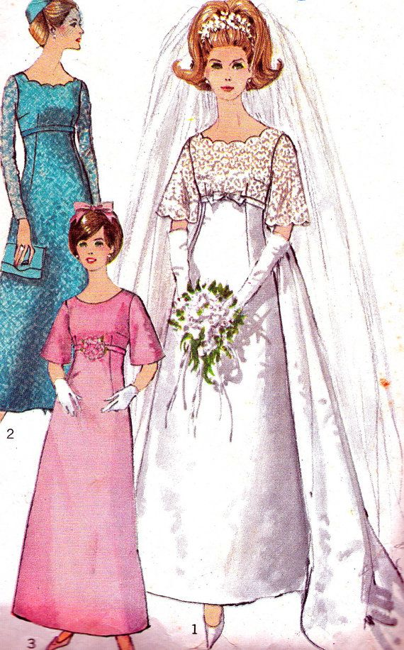 1960s wedding dress pattern simplicity 6825 empire waist for Empire waist wedding dress patterns