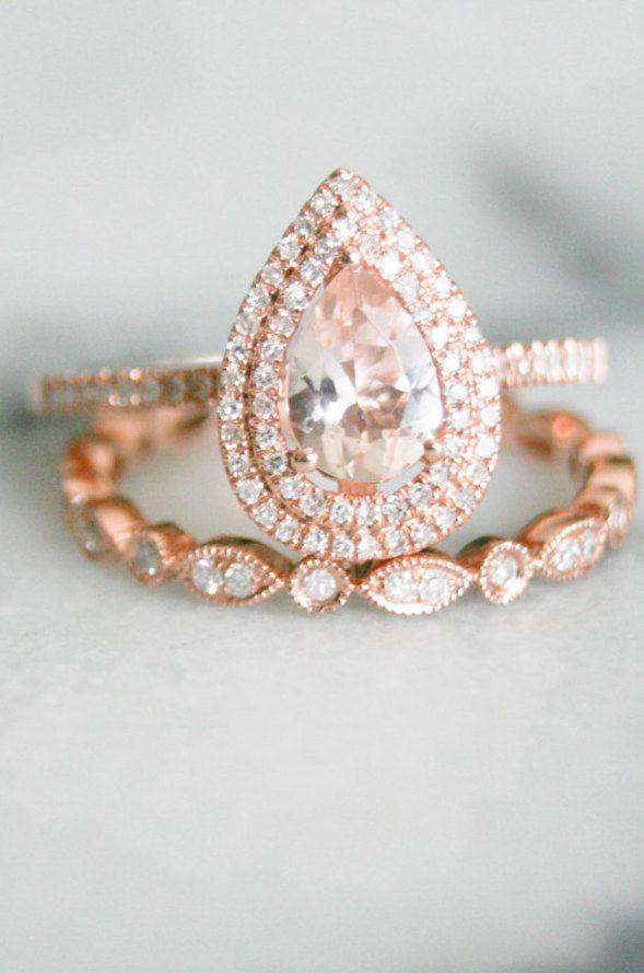 Pear Shape Double Halo Rose Gold Morganite Wedding Set