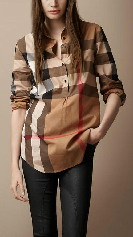 Burberry long sleeve shirt for womens coffee brown check for Burberry brit plaid shirt