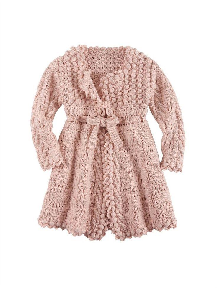 Пальто для девочки вязаное спицами с обвязкой крючком. Схема ажурного пальто для девочки