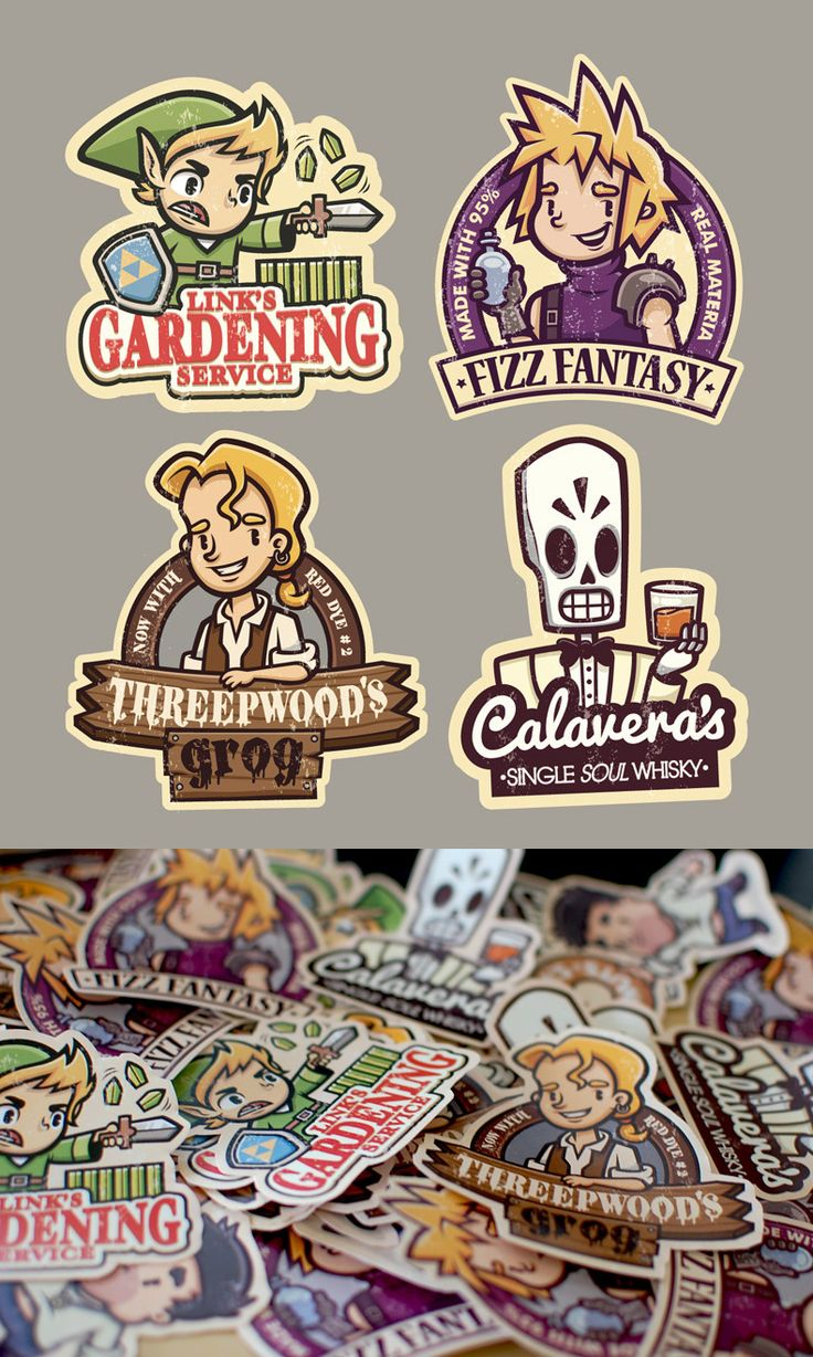 I want the Monkey Island and Grim Fandango ones so bad! (Gaming Stickers by ~cronobreaker on deviantART)