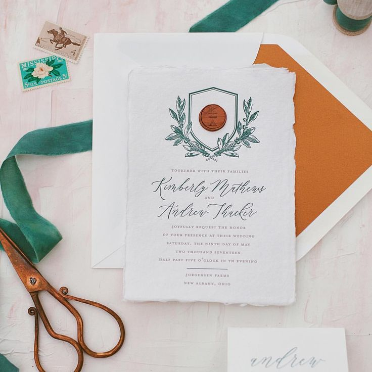 Matchy Matchy Letterpress Invite And Handmade Envelope: Monogram And Wax Seal Letterpress Wedding Invitation With