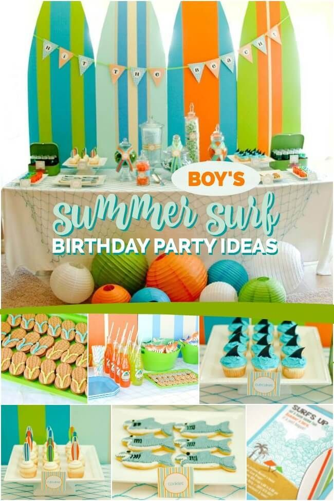 A Boy S Summer Surfing Party Pool Birthday Party Surf Birthday Boy Birthday Parties