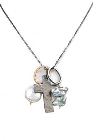 DWNY cross cluster necklace, long
