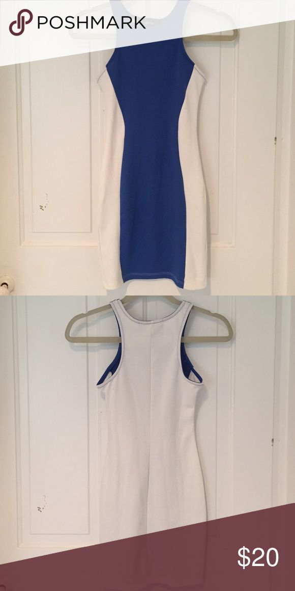 Never worn Nasty Gal bodycon dress Blue and white bodycon dress - never worn - very flattering! Nasty Gal Dresses Mini