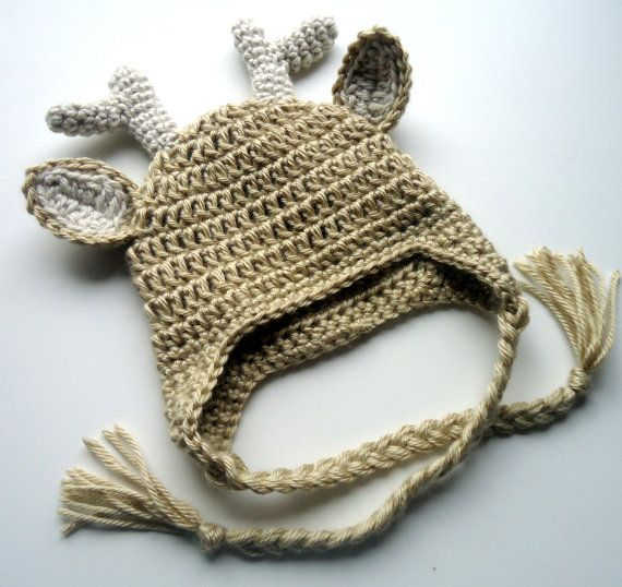 Crochet Baby Hat, Deer Hat, Fawn Hat, Crochet baby hat with Ear Flaps, MADE TO ORDER in your size request