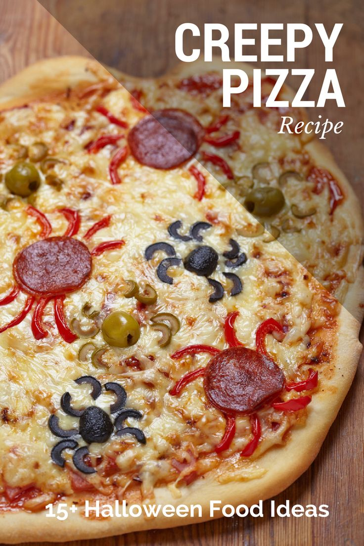 Its pizza time! Save this for the Halloween day and discover over 15 more Halloween food ideas for kids!