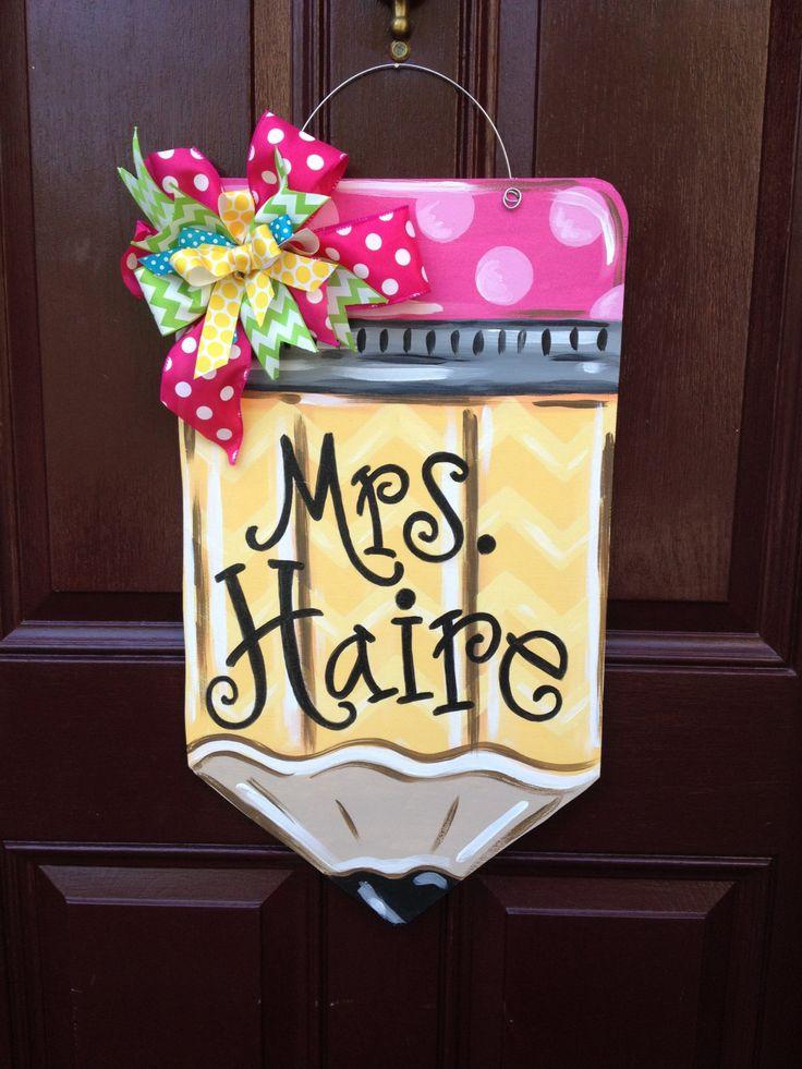 Pencil Door Hanger/Teacher Door Hanger/Back to School Door Decor/Teacher gift/The Gilded Polka Dot by TheGildedPolkaDot on Etsy https://www.etsy.com/listing/240885900/pencil-door-hangerteacher-door