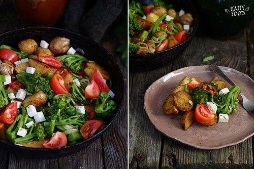 Салат с брокколи,  томатами и фетой