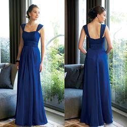Online Shop Azul marino boda De dama De honor vestido largo magnífico cintura alta De doble hombro gasa Vestidos De Novia Vestidos Longos Aliexpress Mobile