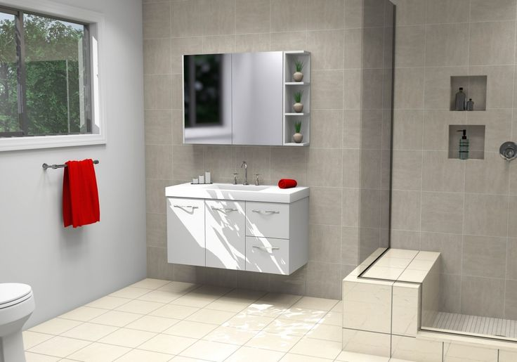Timberline Carlo Vanity 1050 Grand Top, Gloss White Wall Hung - ABL Tile Centre