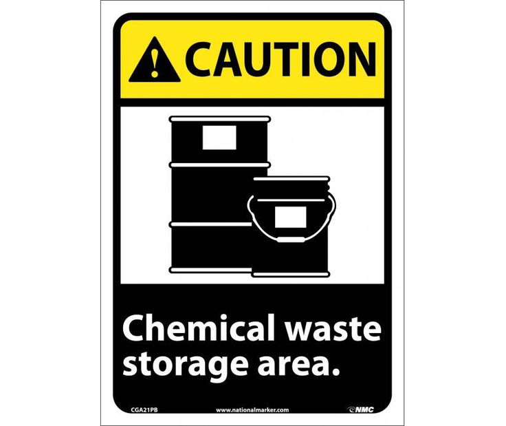 Caution, CHEMICAL WASTE STORAGE AREA, 14X10, PS Vinyl