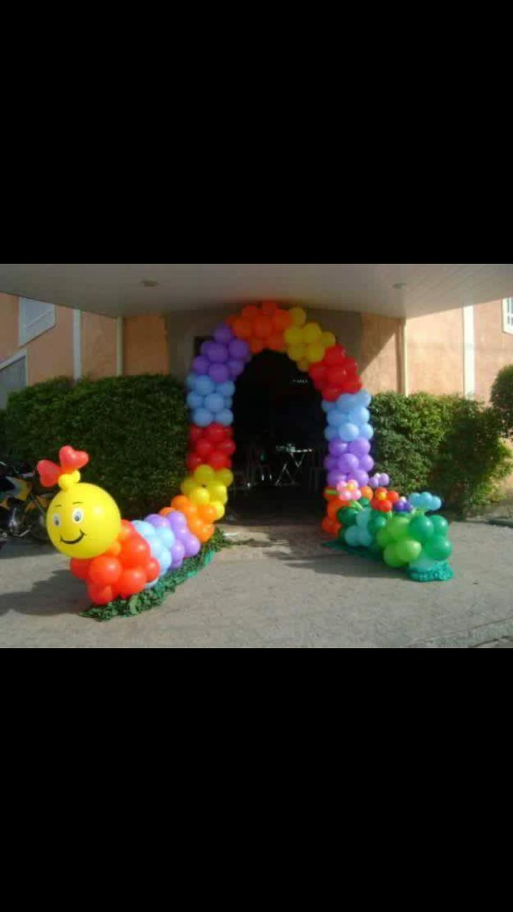 Large caterpillar balloon arch for entrance 13
