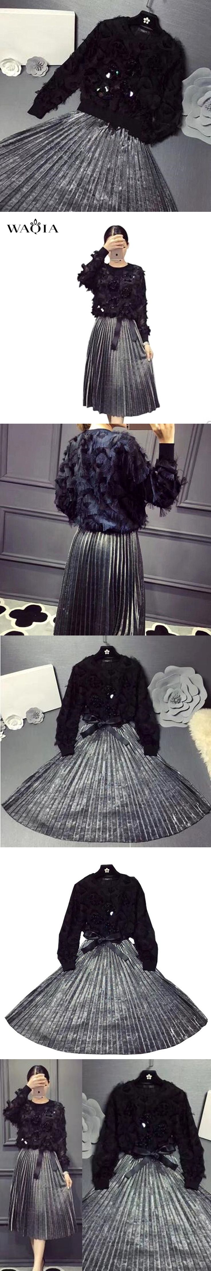 2 pieces set NEW 2017 Women Clothing Set Large Size Spring Autumn Long Sleeve Black Sequins tassel Hoodies+Silver Pleated Skirt