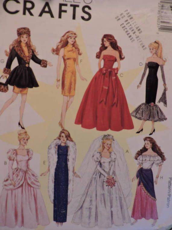 Barbie Doll Fashion Wardrobe Clothes McCall's 623 / 8552