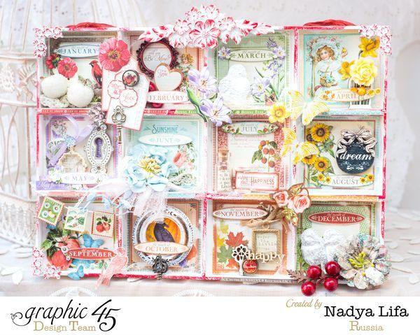 Learn how to make this gorgeous shadowbox calendar with a tutorial from Nadya! Love each and every detail - wow! #Graphic45 #g45handmadegifttutorials
