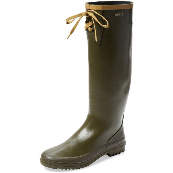 Aigle Women's Miss Marion Rain Boot - Green - Size 35 ($139) ❤ liked on Polyvore featuring shoes, boots, green, tall lace up boots, lace up boots, wellington boots, green rain boots and rubber rain boots