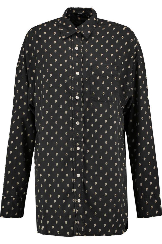 NWT R13 Rockabilly Shirt Black Skulls Silk Long Sleeve L Ret. $600 #R13 #Blouse