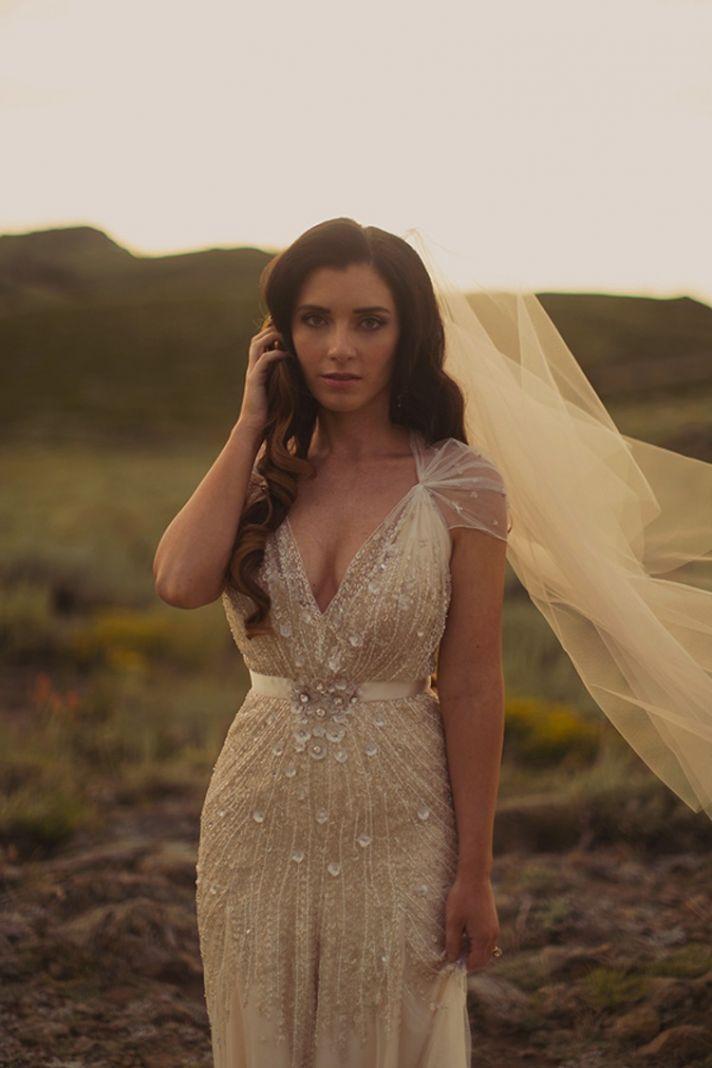beautiful beaded vintage dress, off white, simple veil, bejeweled, beaded, deep v neck, tulle shoulder