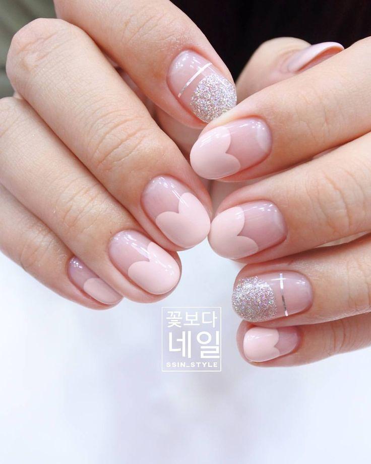 Pink heart manicure