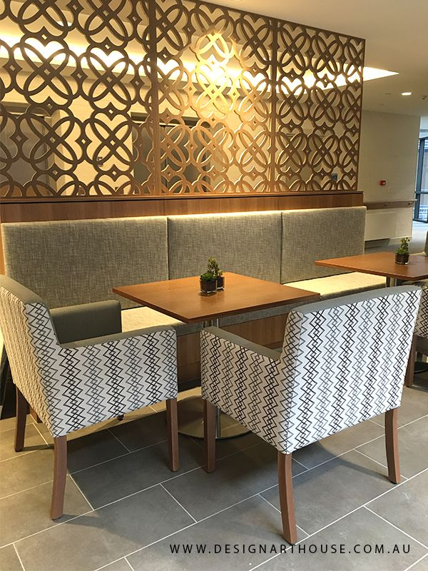 Aged Care cafe with custom dining chairs and decorative screens.