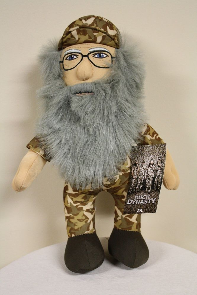 "Uncle SI Robertson 13"" Plush Camo Doll Duck Dynasty Commander A&E Beard Toy NWT"