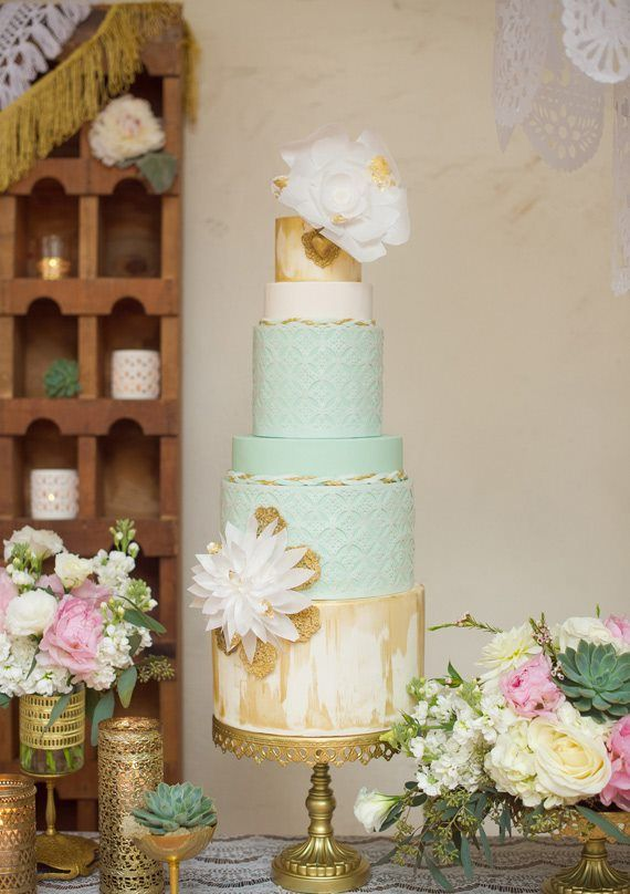 Gorgeous mint, cream, and gold #wedding #cake with flowers