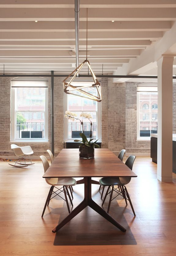Exposed beams, white wash, hardwood floors, minimal, exposed brick ~ can I move in? Bernheimer Architecture via Desire to Inspire
