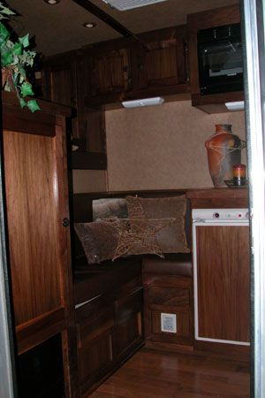 Air Capital Conversions - Horse Trailers - Living Quarters - RV Repairs - RV Parts - Trailer Sales Cute nook couch for a weekend package.