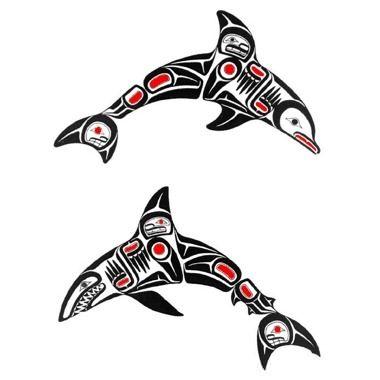 Tatouage dauphin et requin haida